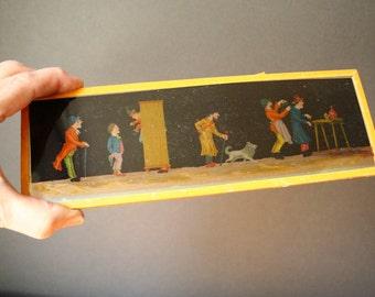 """Antique German Magic Lantern glass slide, Antique animation long color slide, 9.5"""" long glass slide, large glass color slide"""