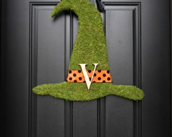 Fall Wreath. Halloween Wreath. Witch Hat Wreath. Moss Witch Hat with Woodfired Monogram. For the Good Witches.