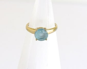 Gold Plated Blue Topaz Ring: triangles, vintage sterling silver with gold blue topaz ring, blue topaz ring, size 5, simple setting