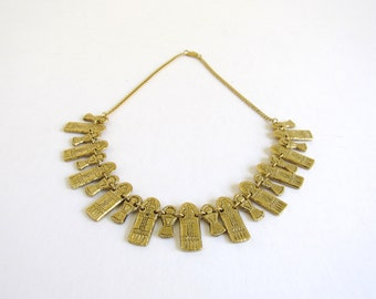 Egyptian Bib Necklace / Mummies / Egyptian revival / golden bib necklace