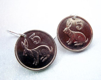 Coin Jewelry 1997 Zimbabwe RABBIT coin earrings - sterling silver earwires - Bunny Lapin Bird Sculpture - small coins