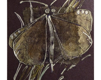Amethyst purple butterfly - blank greeting card for any occasion - shabby chic, rustic purple, primitive, dark - original painting - OOAK