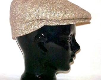 80's Newsboy Cap, Barbour Tweed, Cabbie Flat Golf Hat, Size 7