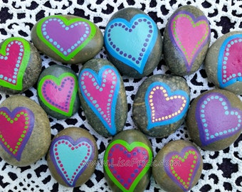 Painted Heart Rocks, FIVE Rocks, 5 Painted Stones, Painted rocks, Heart Rocks, Rocks with Hearts, Hand Painted Stones, Hand Painted Rocks
