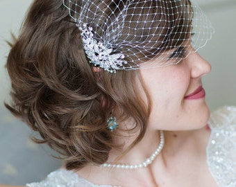 Bridal Veil and Bridal Comb, Bandeau Birdcage Veil, Blusher Bird Cage Veil - QUICK SHIPPER - Rhinestone Fascinator Comb - The Simona Veil