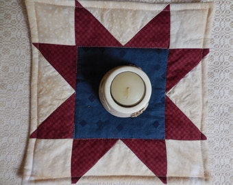 SALE! Primitive Patriotic Aged Quilt Star Block Candle Table Mat Americana Wall Hanging