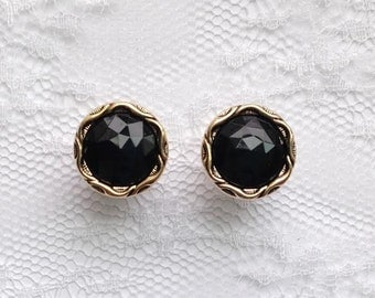 """Black and Gold Faceted Vintage Style Wedding Pair Plugs Gauges Size: 0g (8mm), 00g (10mm), 1/2"""" (12mm), 3/4"""" (19mm)"""