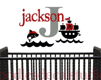 Pirate Wall Decal - Name Vinyl Wall Decal for Boys - Pirate Ship Nursery Art - Kids Nautical Wall Decal - Pirate Sticker for Playroom