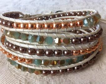 It's Lovely 5 wrap bracelet on metallic pearl leather