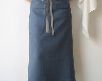 Bistro Apron in Slate-Blue