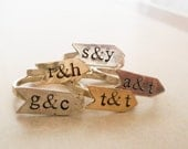 Arrow Banner Ring //  Personalized //  Sterling Silver or Brass