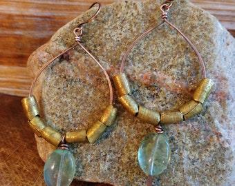 Bravery. Hammered Artisan Boho Copper Large Drop Earring with Aqua Fluorite Gemstone Oval Beads and Tribal Brass-Boho Gypsy Vintage Jingle