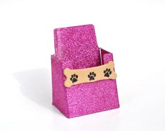 Glitter Dog Bone Business Card Holder.  Vertical Business Card Holder.  Bling.  Glitter.  Pet Business.  Dog Bone.  Paw Print