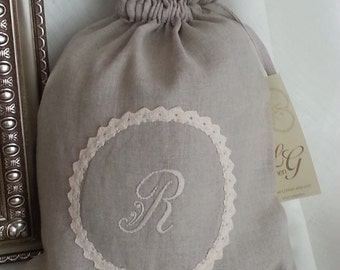 Pure Linen Gift Bag/ Personalized Linen bag/Linen gift