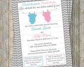 Joint Baby Shower Invitation, polka dot onesies, boy/girl, light blue and pink Digital, Printable file