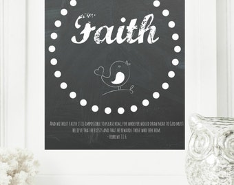 "Instant 8x10 ""Faith - Hebrews 11:6"" Chalkboard Digital Wall Art Print, Modern Christian Art, Scripture Print, Digital Download"