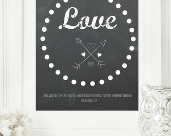 """Instant 8x10 """"Love - Colossians 3:14"""" Chalkboard Digital Wall Art Print, Modern Christian Art, Scripture Print, Digital Download"""