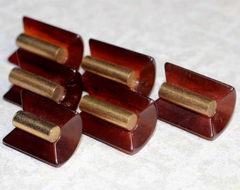 "Vintage Root Beer Tortoise Bakelite Toggle Buttons with Gold Bar Escutcheon - Set of 6 Sewing Buttons in 2 Sizes 7/8"" (22mm) and 3/4"" (19mm)"