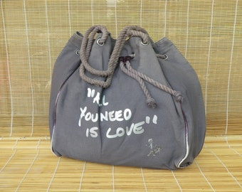 Vintage Medium Size Grey Purple Canvas Open Top Drawstring Hobo Bag