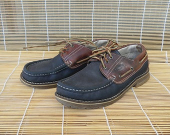 Vintage Lady's Blue And Brown Leather Lace Up Deck Shoes Size EUR 38 / US Woman 7 1/2