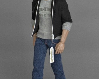 1/6th scale Beverly Hills Cop Axel Foley inspired black zip hoodie for collectible action figures