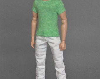 1/6th scale green T-shirt for: male action figures and fashion dolls