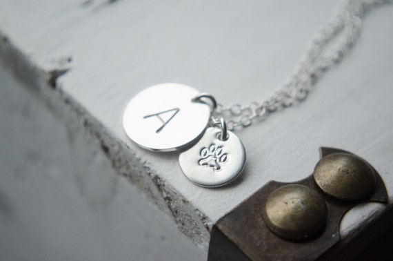 Pet Jewelry | Paw Print Initial Necklace | Sterling Silver Gold Fill or Rose Gold Fill