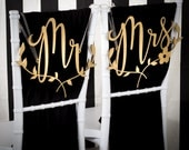 Wedding Chair Signs Decoration - Mr and Mrs with floral branch - Joyful