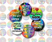 Gay Pride Ver4 Bottlecap Images / LGBT QIA / Proud Of My Son, Daughter, Sister, Brother, Trans / Rainbow 1-Inch Circles / Digital Collage