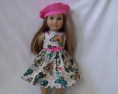 18 Inch Doll-American Girl Dress with optional Beret: Butterfly Stamps