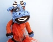 Art doll Fiacro the posable monster, fuzzy upcycled fiber sculpture, bendable fantasy creature, one of a kind animal doll,  unique gift
