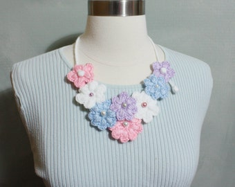 Lovely Crochet Multi-Color Flower Garden Bib Necklace