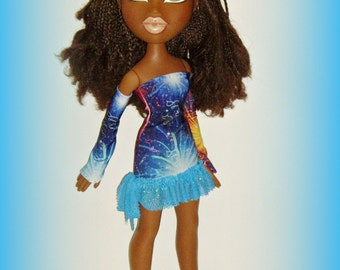 SALE - Big Bratz 24 Inch Doll Clothes, Multicolor Fireworks Dress and Sleeves, Handmade for Sasha and Friends by traveller240
