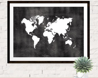 Black and white map etsy world map print poster chalkboard style background world map art travel print poster gumiabroncs Gallery