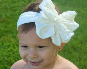 White Baby Bow Headband - White Floppy Bow - Messy Bow Head Wrap - Big White Bow