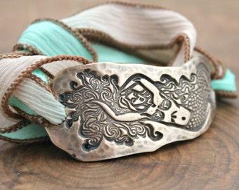 Mermaid Bracelet, Personalized Mermaid Silk Wrap Bracelet, Bronze Under Sea Bracelet, Nautical Jewelry - Ariel Bracelet