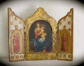"""Vintage Florentine VIRGIN MARY Angel Italian Triptych- perfect for your collection- 7.5""""- vintage condition"""