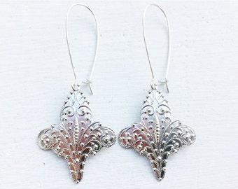 Fleur De Lis Earrings/Bohemain Earrings/Silver Earrings/Silver Boho Earrings/Boho Earrings/Gifts For Her/Silver Fleur De Lis Earrings
