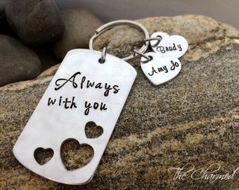 Always with you  - Personalized Key Chains - Hearts