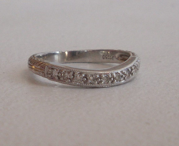 Curved Platinum Diamond Band - Wedding Band - Carved Ring