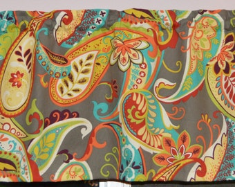 Valance . Whimsy Paisley Mardi Gras  by Covington . Kitchen Valance . Handmade by Pretty Little Valances