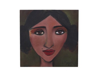 "Portrait Painting Original Pastels on Wood ""Vera"""