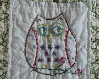 Embroidered Owls Quilt