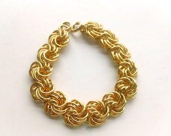 Gold Chain Link Bracelet Vintage Hi-End Fashion Jewelry