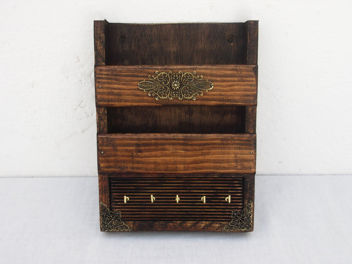 Mail holder and key rack rustic wooden wall mail box - Mail holder and key rack ...