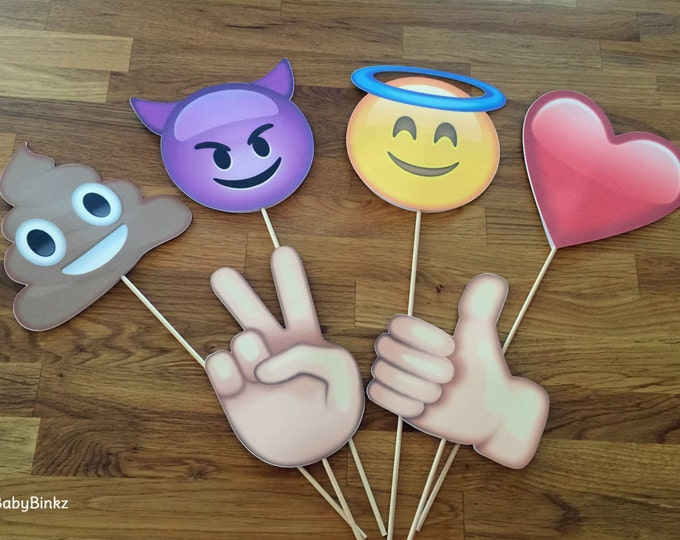 Photo Props: The Emoji Set (6 Pieces) - party wedding birthday facebook decoration instagram social media iPhone app icon stick centerpiece