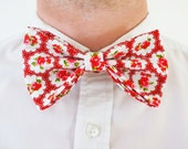 Red floral bow tie brooch/ handmade bow brooch/ unisex bow tie