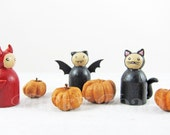 Halloween Trick or Treaters Peg Doll Set (Black Cat, Little Devil, and Vampire Bat)