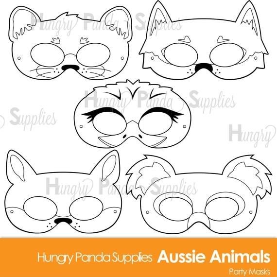 Printable Coloring Animal Masks : Australian animals printable coloring masks aussie animal koala mask