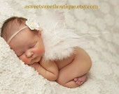 Blush Ivory Newborn Angel Wings READY TO SHIP Baby Angel Wings Sweet Cherished Love Angel Wings And Headband Set Newborn Photo Prop
